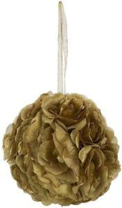 "8"" Silk Gold Rose Pomander Hanging Flower Kissing Ball Wedding Party Home Decor"