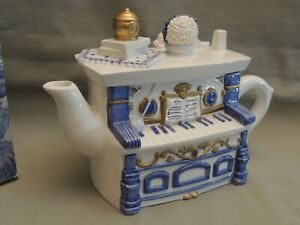 The Village collectables Manor house ceramic piano teapot hand painted