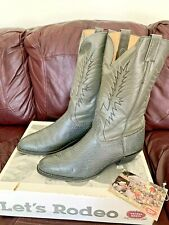 Vintage Nocona Grey Bullhide Mens Western Dress Boots 13D #24970 exotic skin