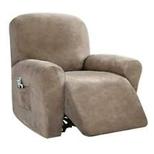 Velvet 4 Piece Stretch Recliner Covers Recliner Chair Covers for Leather Taupe