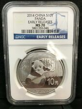 2014 1oz Silver Chinese Panda, China PRC 10 Yuan, NGC MS 70 Early Releases BLUE
