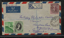 Mauritius  , Port Louis registered cover to England  1953         AT0531