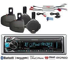 """Marine 4Channel Amplifier, 6.5""""Marine Speakers, Bluetooth USB AUX Marine Radio"""