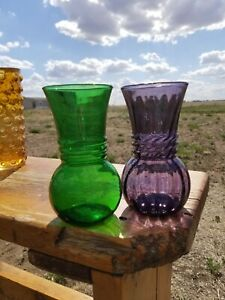 Pair of Vintage Anchor Hocking Vases. Forrest Green and Purple Swirled Collectib