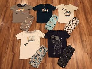 Gymboree Boys Size 6 Gymmies Summer Pajamas - Lot Of 5 Space Pelican Ships Fish