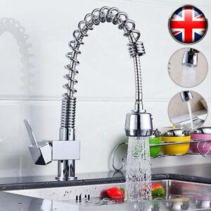 Modern Kitchen Sink Mixer Taps Pull Out Single Lever Neck Chrome Spray Mono Tap