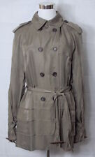 Club Monaco Trench Coat Double Breasted Belted Taupe Gray size Medium
