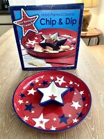 Chip And Dip Serving Dish Bowl Hand Painted Red White And Blue Stars New!