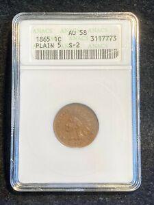 Sharp 1865 Plain 5 Indian Head Cent RPD & MPD, Snow S-2, FS-304 ANACS AU-58
