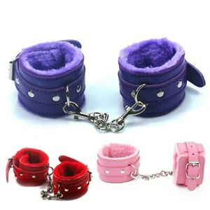 Faux Leather & Fur Bondage Wrist & Ankle Cuffs with Hogtie Black Red Pink Purple