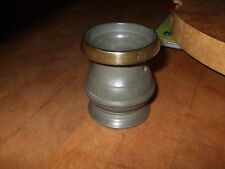 VINTAGE PEWTER GILL MEASURE WITH BRASS RIM   MARKED ER