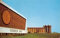 Valparaiso University Indiana~Big Seal on Founded 1859 Sign~Chapel~1974 Postcard