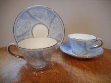Wedgwood Winter Morn bone china TWO pear shape cups and saucers S221 AS IS
