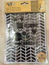 Art-C Clear Acrylic Stamp & Adhesive Stencil Set Chevron 17-pc 26886  NEW