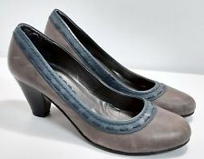 Zanon & Zago pumps heels, gray and blue distressed leather, size 40