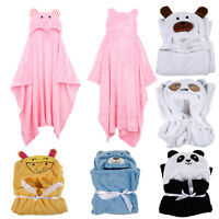Animal Flannel Cartoon Baby Kids Hooded Bath Towel Toddler Blankets Bathrobes