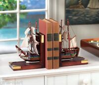 wood MODEL Sailboat Pirate Ship sail Boat BOOKENDS nautical ocean statue object