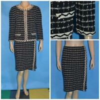 St. John Knits Black Beige Jacket & Skirt L 10 12 2pc Suit Trim Plaid