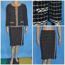 St. John Knits Black Beige Jacket Skirt L 10 12 2pc Suit Trims Plaid