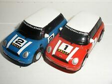 MICRO Scalextric - Pair of BMW Mini Cooper (Red #1/Blue #2) - Exc. Cdn.