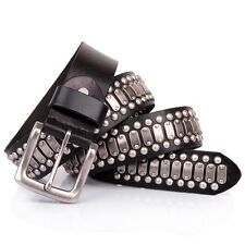 Men Leather Punk Rock Studded Belt Silver Circle Metal Studded Distressed Black