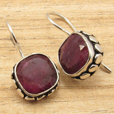"""Red Simulated Ruby Stone Earrings 1"""" 925 Silver Overlay Online Jewelry ! Cushion"""