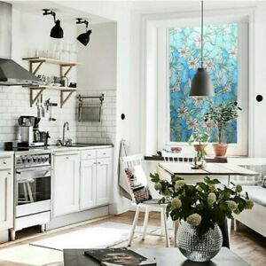 3D Static Cling Frosted Window Films Floral Stained Glass Stickers Safety Modern