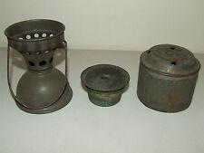 Antique Lamp Light Parts - Vintage Lot Of Tin Tole Oil Lamp Skater's Lamp Parts