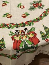 """Vintage Handcrafted Linen Christmas Round Tablecloth Fringed 50"""" Needs Mending"""