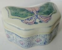 Vintage Chinese Ceramic Butterfly Shaped Trinket Box Vanity Jewelry Dish Decor