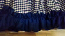 Kitchen curtain , valance, blue and white gingham with ruffle and ribbon trim