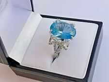 Silver VIVID BLUE CUBIC ZIRCONIA RING bow shaped clear sparkly CZ shoulders