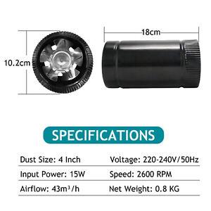 "Hon&Guan 4""6''8'' Black Metal Inline Vent Blower Energy-saving Exhaust Fan"