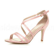 Womens ladies mid high heel crossed straps bridal party evening sandals shoes