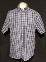 Lacoste Men's Blue Checkered Shirt Large Size 42 100% Cotton Short Sleeve