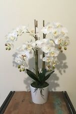 Artificial Fake Real Touch White Phalenopsis Orchid w White Ceramic Vase 58cm H