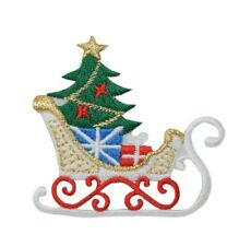 Sleigh - Christmas - Tree/Gifts/Present/Sled Iron on Applique/Embroidered Patch
