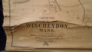 Walker Lithograph CO MAP OF THE TOWN OF WINCHENDON, MASS 1890 Very Good 30x27