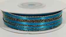 "1/8"" Double Face Satin Ribbon With Gold Edge - 100 Yards"