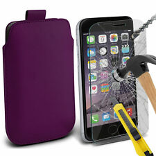 Oscuro Púrpura Lengüeta Cuero de PU Funda & Vidrio para Apple iPhone 6 Plus