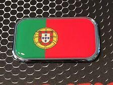 """Portugal Flag Domed CHROME Emblem Flag Car emblem 3D Sticker 3""""x 1.8"""" Ronaldo"""