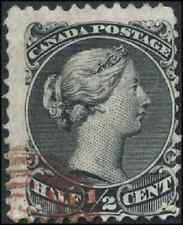 Canada #21 used F 1868 Queen Victoria 1/2c black Large Queen RARE red Target