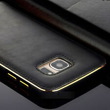 For Samsung S7 & S6 Edge Luxury Leather Back Case Aluminum Metal Bumper Cover