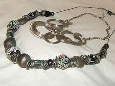 SET OF TWO Vintage NECKLACES silver tone black grey, 1990's