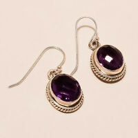 6.30Gm 925 Solid Sterling Silver Earring Natural Gemstone Amethyst Earring S-128