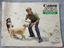 New listing Original Canon Ae-1 Program Film Camera Instruction Manual