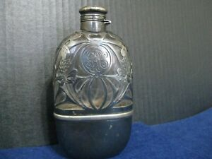 STERLING SILVER FILIGREE OVERLAY FLASK.....ART NOUVEAU by GORHAM