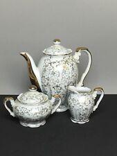 Vtg Porcelain Bavaria Germany White Gold Teapot Sugar Bowl Creamer Set