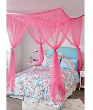 Justice Rectangular Big Bright Pink Mesh Net Bed Canopy 90X74X66 w/Ceiling Hooks