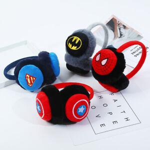 Kids Boys Girls Spiderman Batman Earmuffs Soft Warm Winter Ear Warmers Gift UK